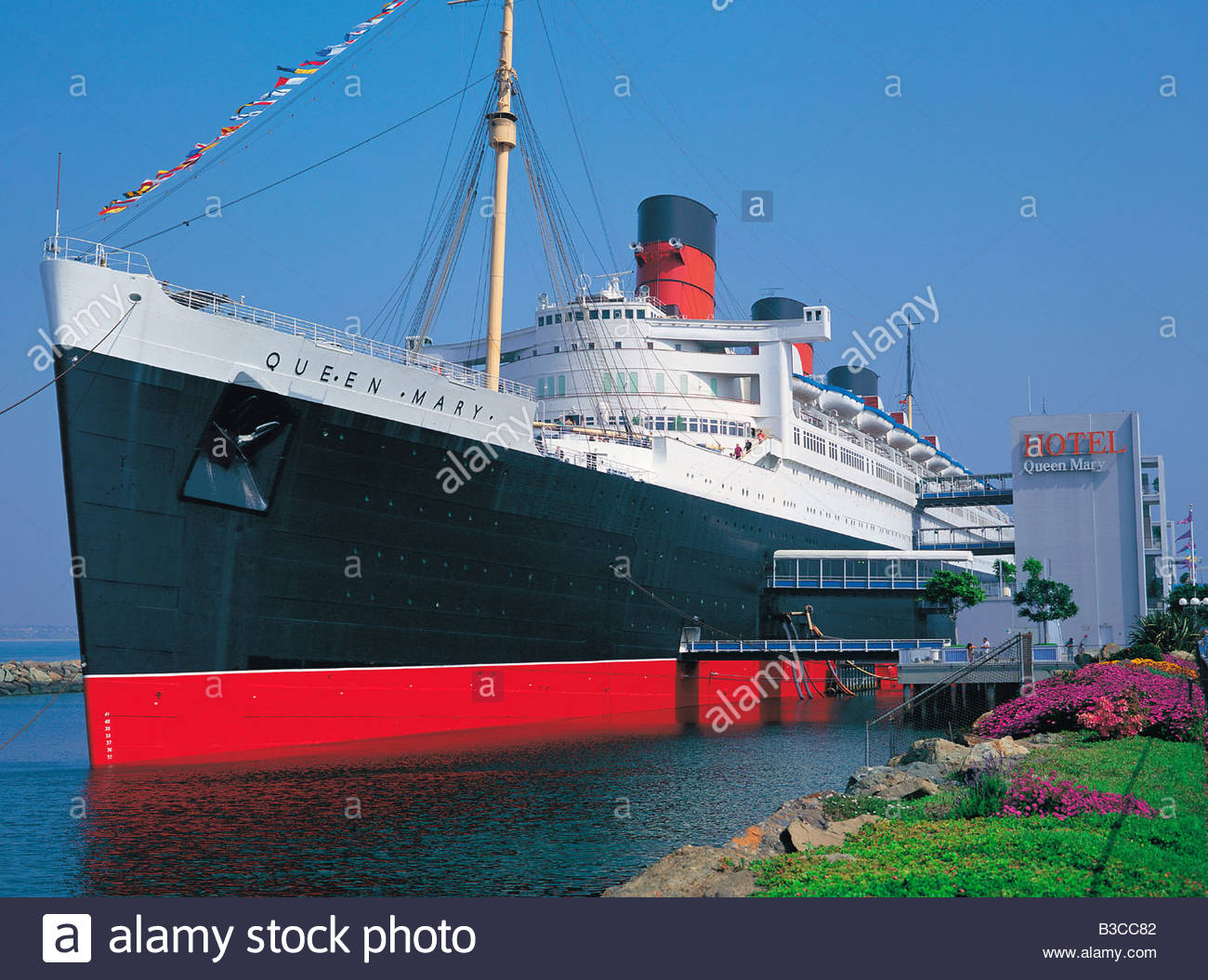 Richard J. Riordan Central Library Los Angeles, Queen Mary ship floating hotel in Los Angeles, California, USA ...
