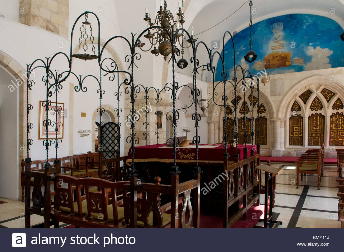 Románský biskupský palace Moravia, Synagogue In Old Jewish Quarter Stock Photos & Synagogue In Old ...