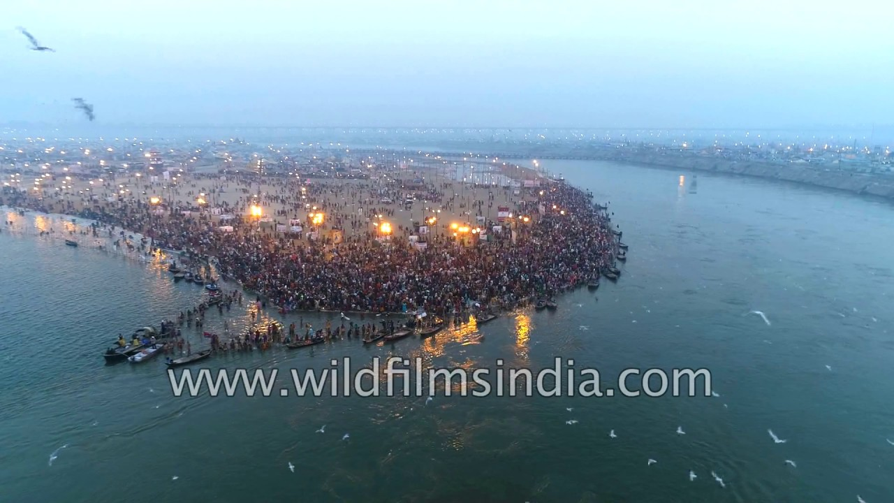 Sangam Allahabad, Ganges Sangam at Allahabad, where Yamuna, Ganga and Saraswati meet ...