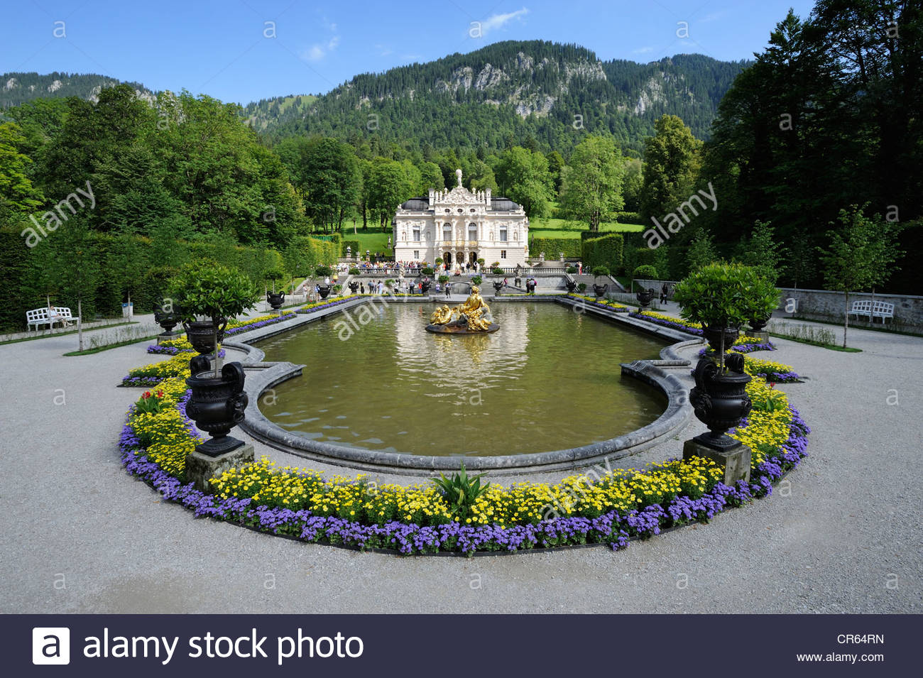 Schloss Linderhof The Bavarian Alps, Schloss Linderhof Castle of King Ludwig II of Bavaria, Graswangtal ...