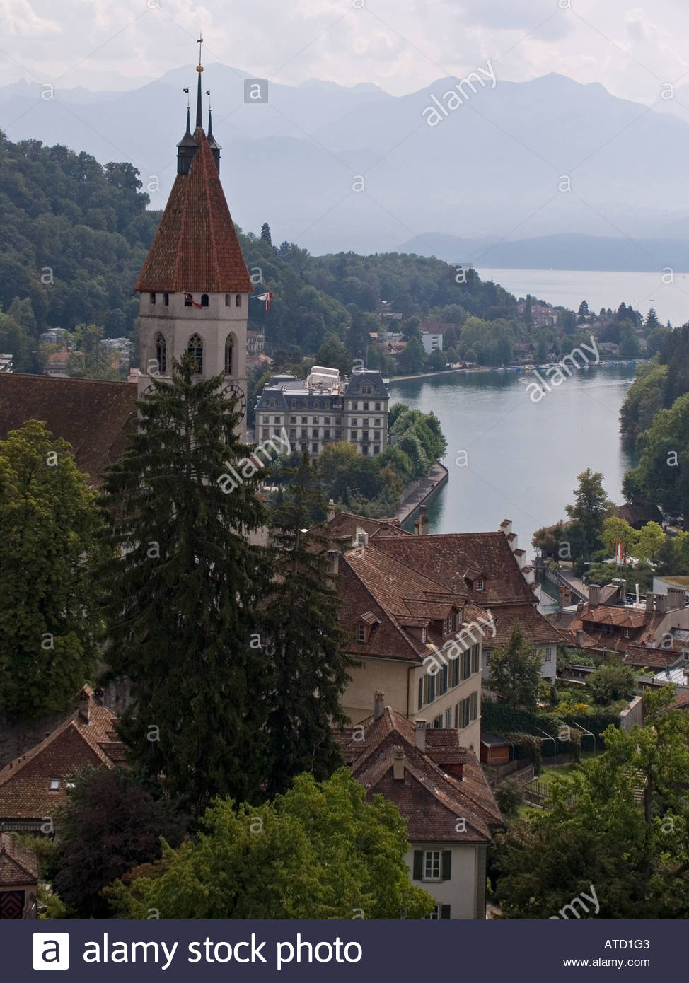 Schloss Thun Thun, Stadtkirche and view of Alps in distance from Schloss Thun Thun ...