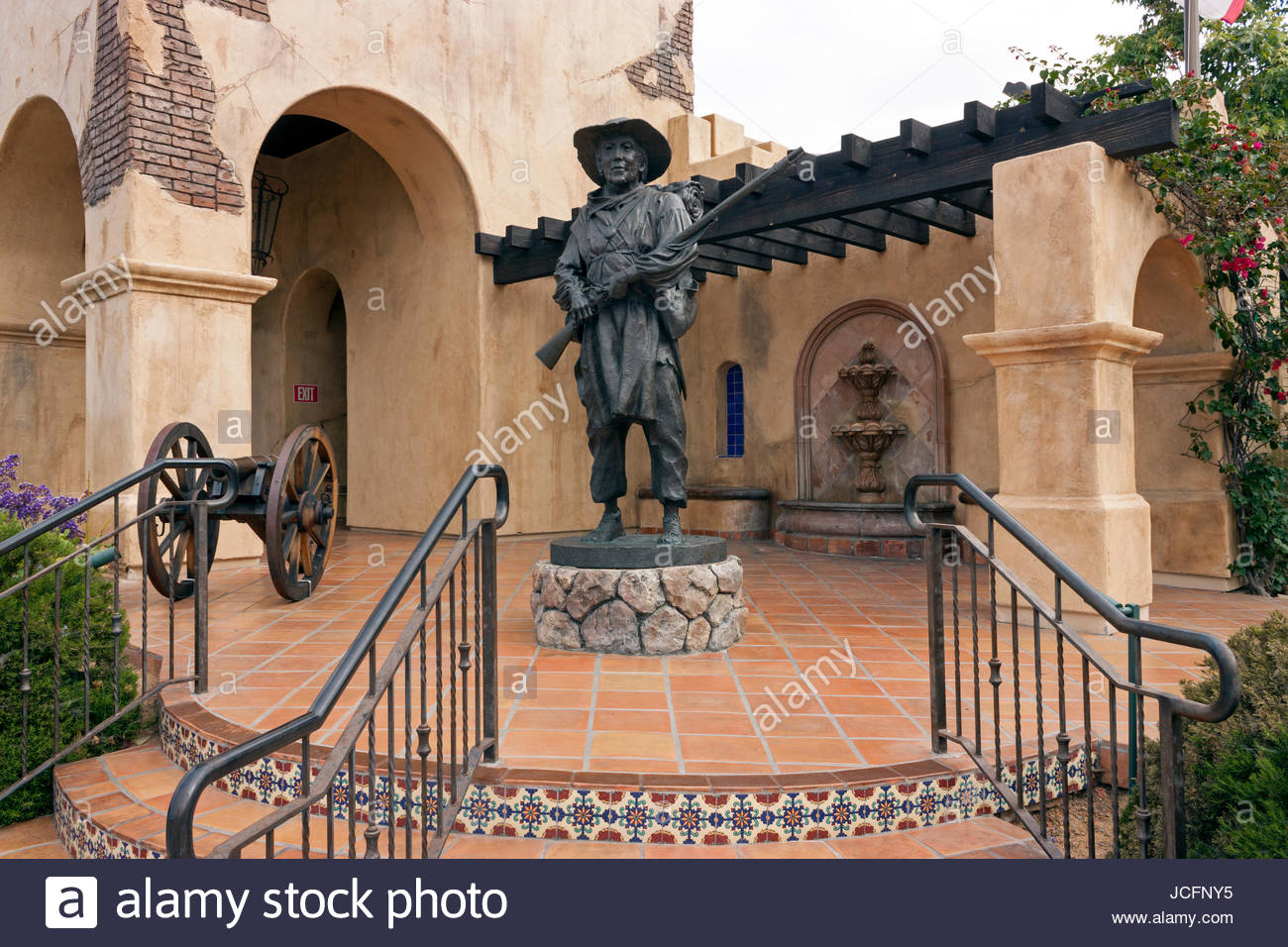Seaport Village San Diego, Statue of soldier at the Mormon Battalion historic site in Old ...
