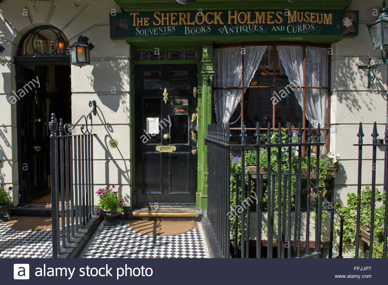 Sherlock Holmes Museum London, The exterior of the Sherlock Holmes Museum in London, United ...