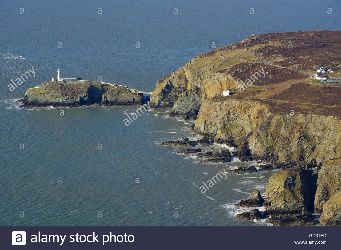South Stack Lighthouse Holyhead, Aerial view of South Stack Lighthouse, Holyhead, Anglesey, North ...