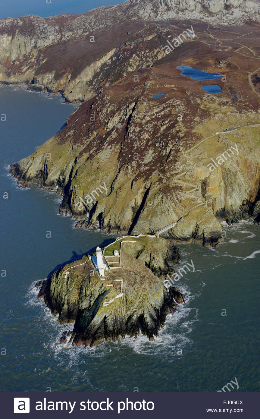 South Stack Lighthouse Holyhead, Aerial, South Stack Lighthouse, Holyhead, Anglesey Stock Photo ...