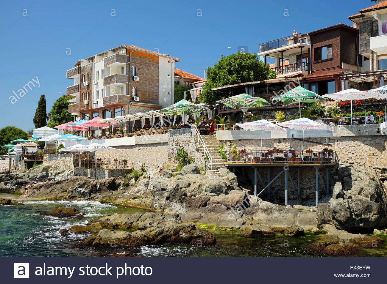 Sozopol Old Town Bulgaria, SOZOPOL, BULGARIA - JULY 19: Seaside hotels and restaurants on ...