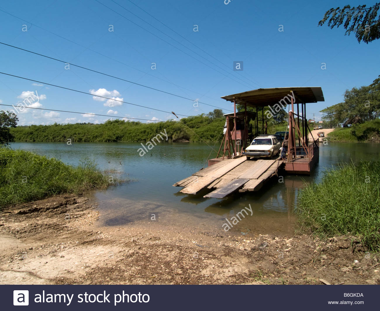 Spanish Lookout The Cayo District, The Baking Pot Ferry crossing the Macal River en route to Spanish ...
