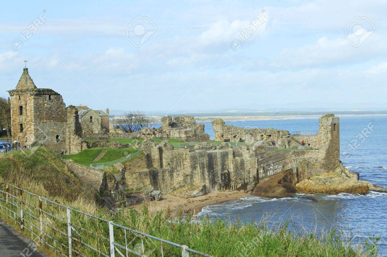 St. Andrews Castle Fife and Angus, Ruins Of St. Andrews Ancient Castle With Angus Coast In Background ...