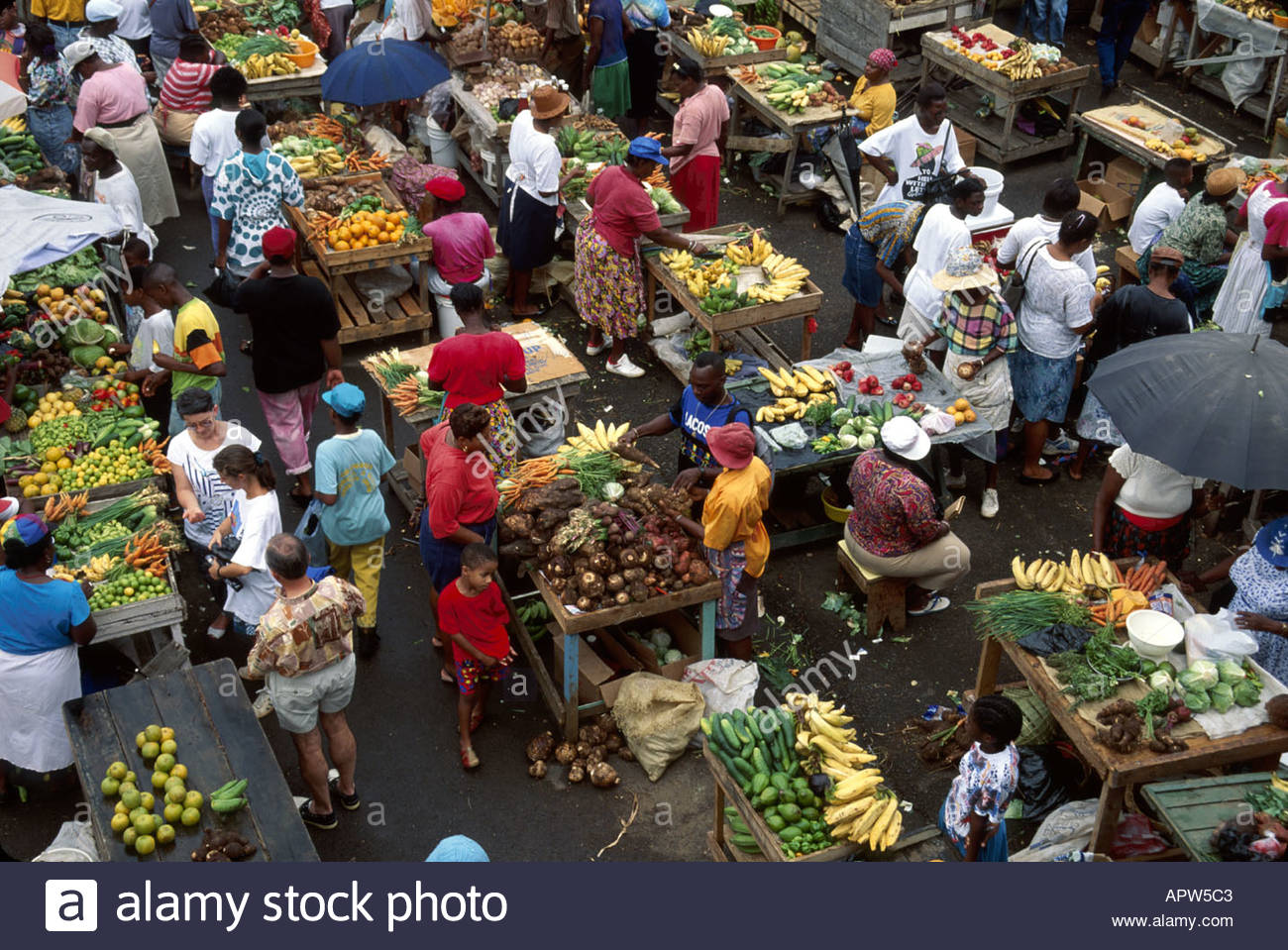 St George's Market Square St George's, Grenada St. George's Market Square produce vendors shoppers Stock ...