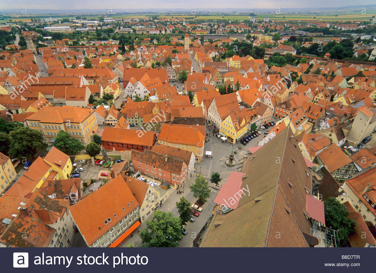 St. Georg's Church The Romantic Road, Aerial view from Daniel tower at St Georges Church of Old Town in ...