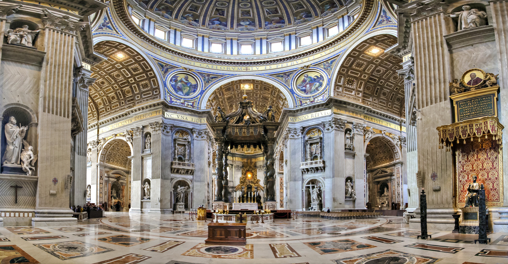 St Peter's Basilica Rome, INSIDE St Peter's Basilica | A panoramic view shows the tran… | Flickr