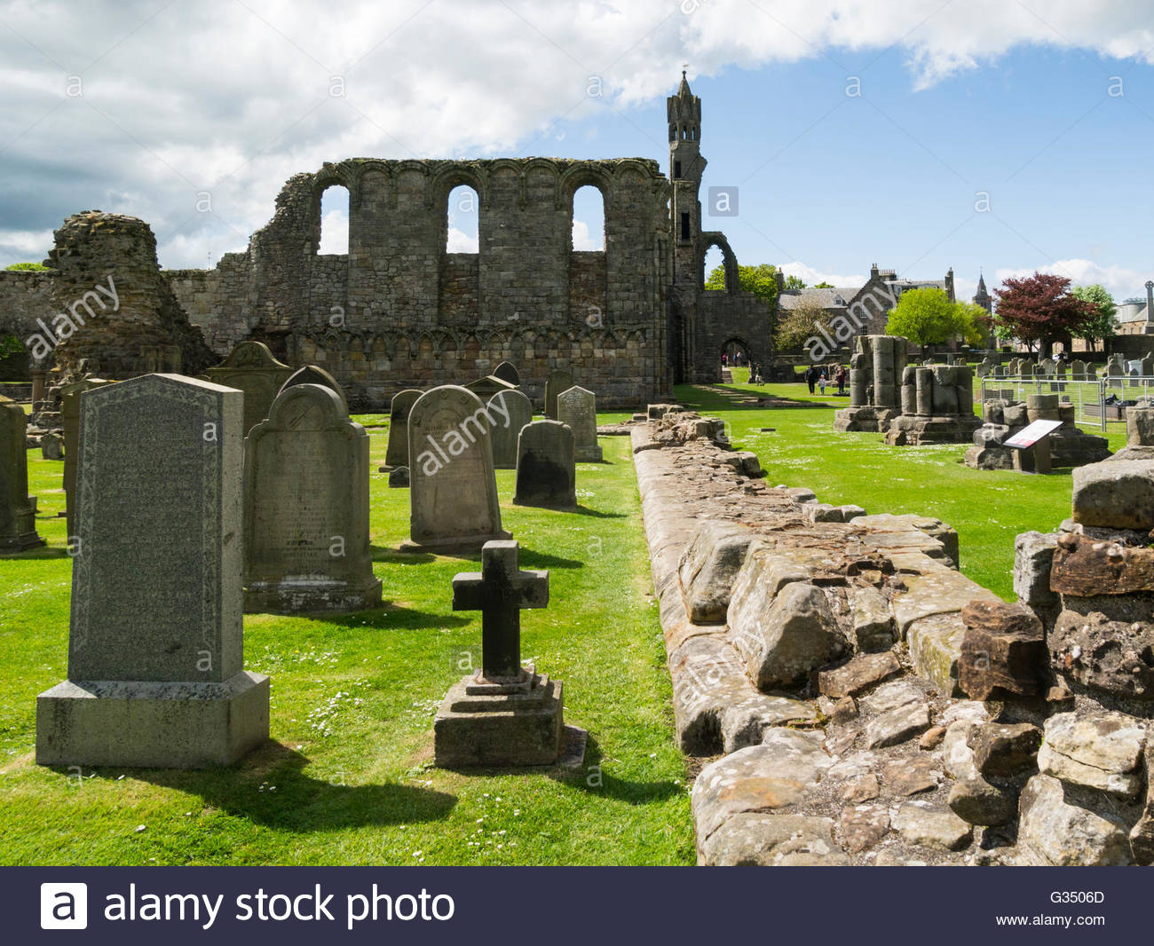St. Rule's Tower Fife and Angus, Ruins nave and St Rule's Tower St Andrews Cathedral Fife Scotland ...