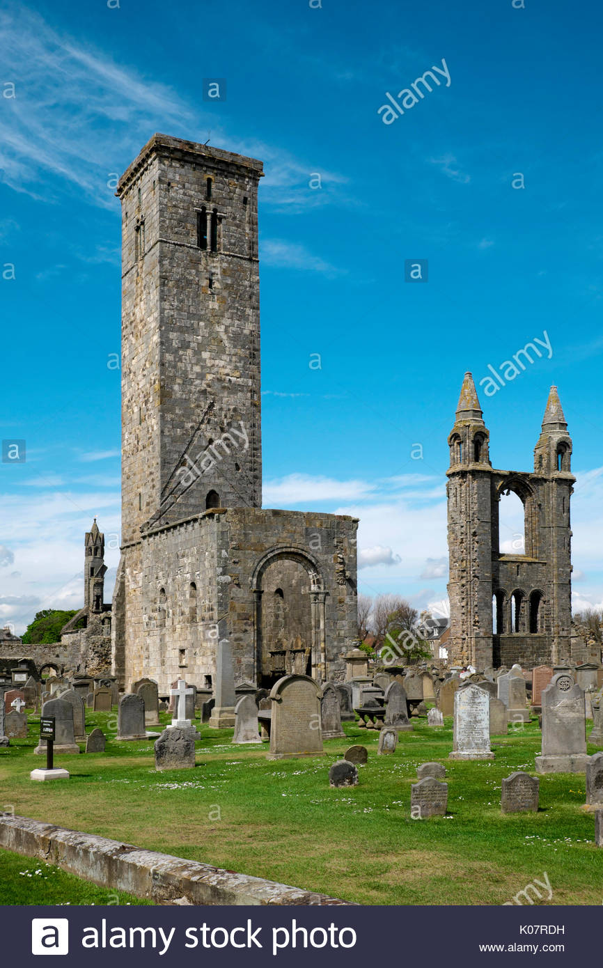 St. Rule's Tower Fife and Angus, St Andrews Church Tower Stock Photos & St Andrews Church Tower ...