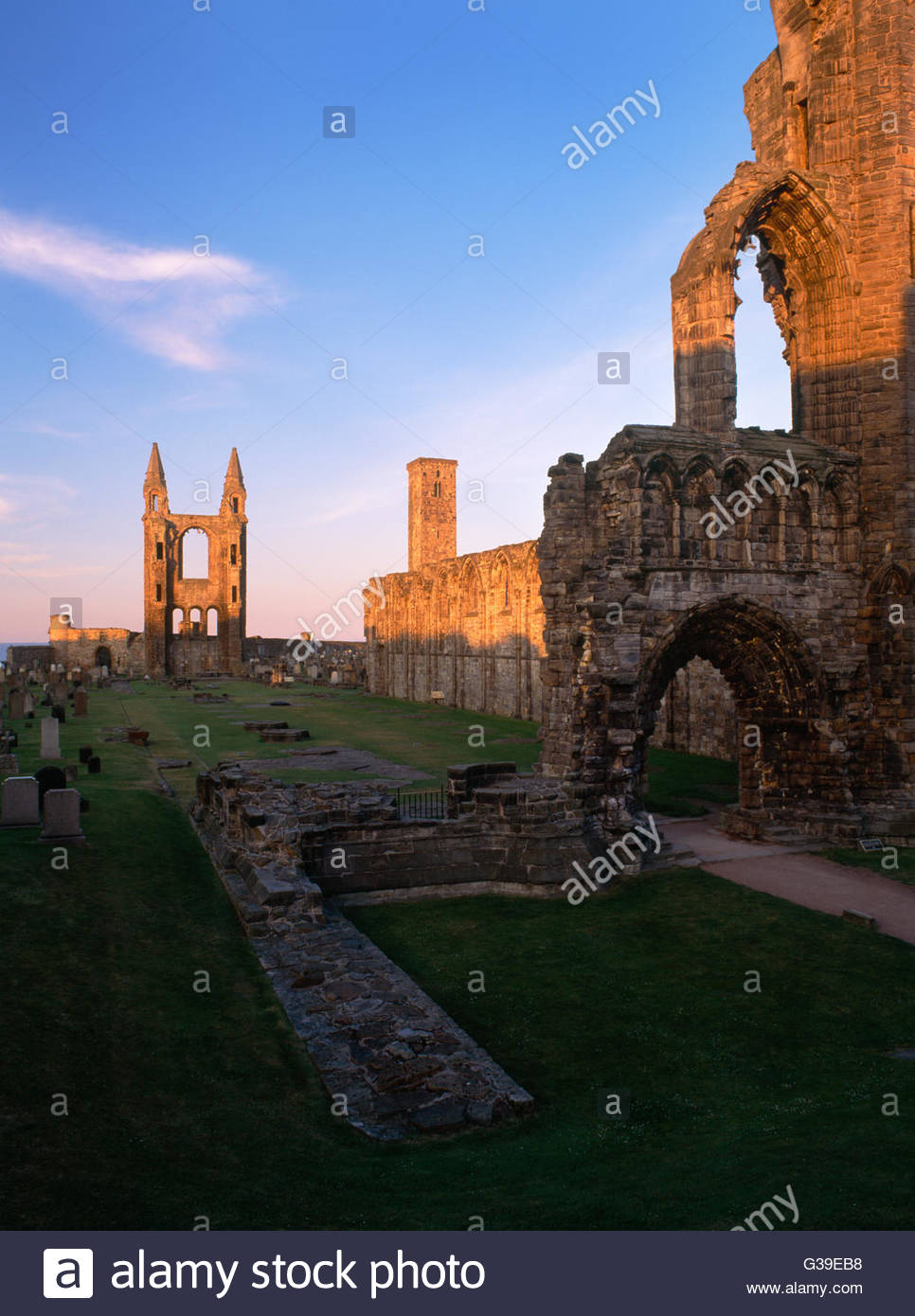 St. Rule's Tower Fife and Angus, View from W end of St Andrews Cathedral, Fife, along the nave (S ...