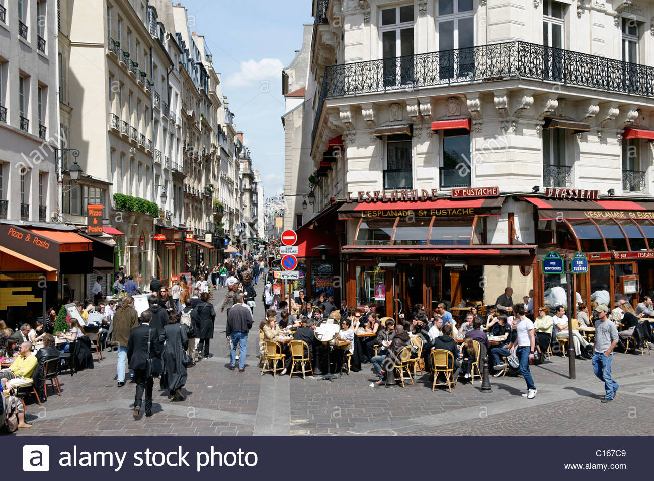 St-Julien-le-Pauvre Paris, Street cafe, shops, Rue Montorgueil, 2. Arrondissement, city ...