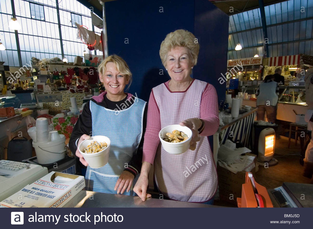Swansea Market South Wales, Cockle sellers at Swansea Market in South Wales, UK Stock Photo ...