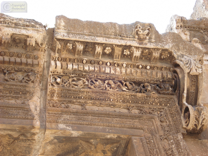 Temple of Bacchus Baalbek, Arch Detail in the Temple of Bacchus in Baalbek