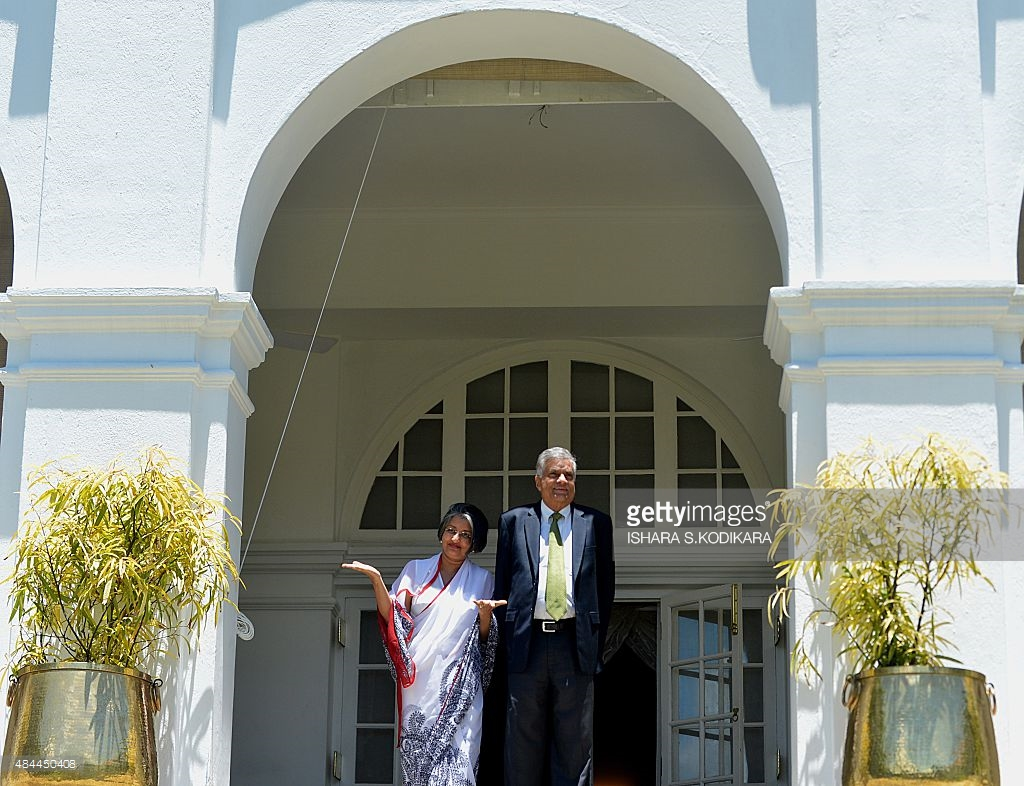 Temple Trees Colombo, Sri Lankan Prime Minister-elect Ranil Wickremesinghe (R) and his ...
