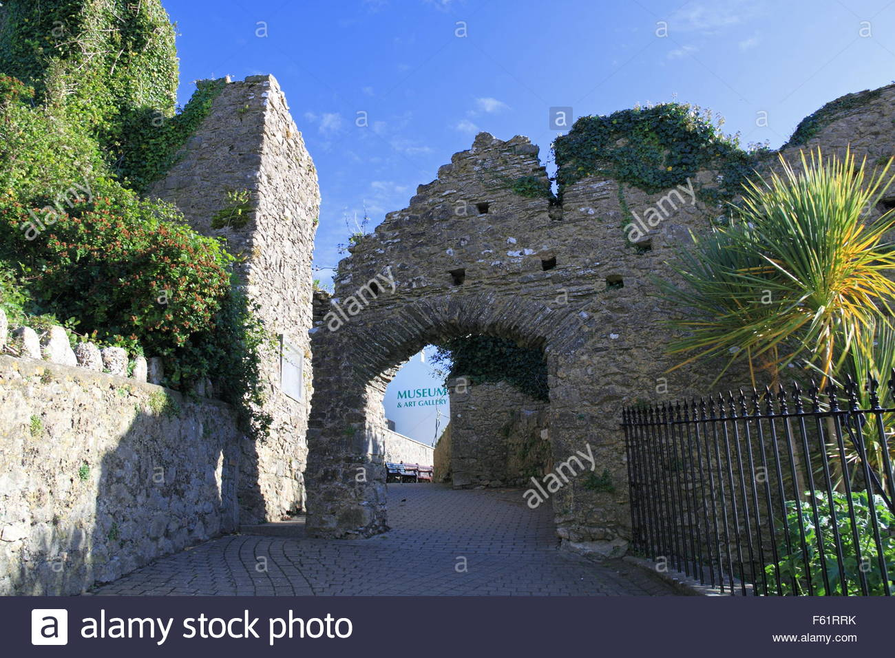 Tenby Museum and Art Gallery South Wales, Tenby Castle walls with Tenby Museum and Art Gallery ...