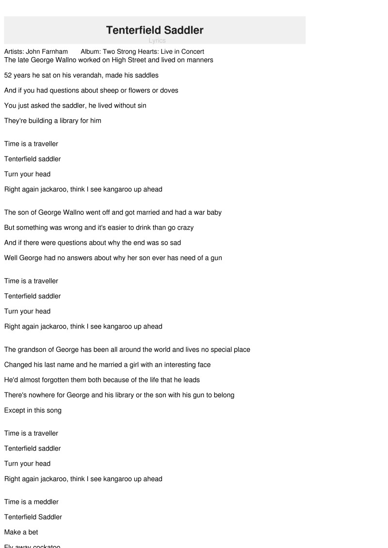 Tenterfield Saddler Tenterfield, Tenterfield Saddler Lyrics - John Farnham