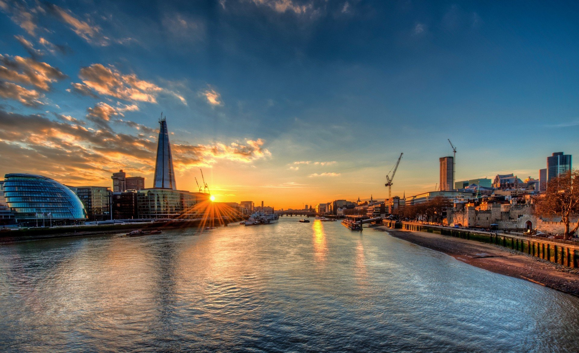 Thames River London, sunset river thames london city hall shard thames HD wallpaper