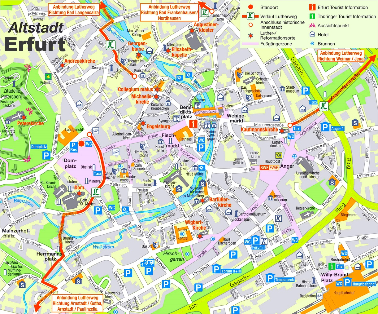 The Anger Saxony, Saxony-Anhalt and Thuringia, Erfurt city center map