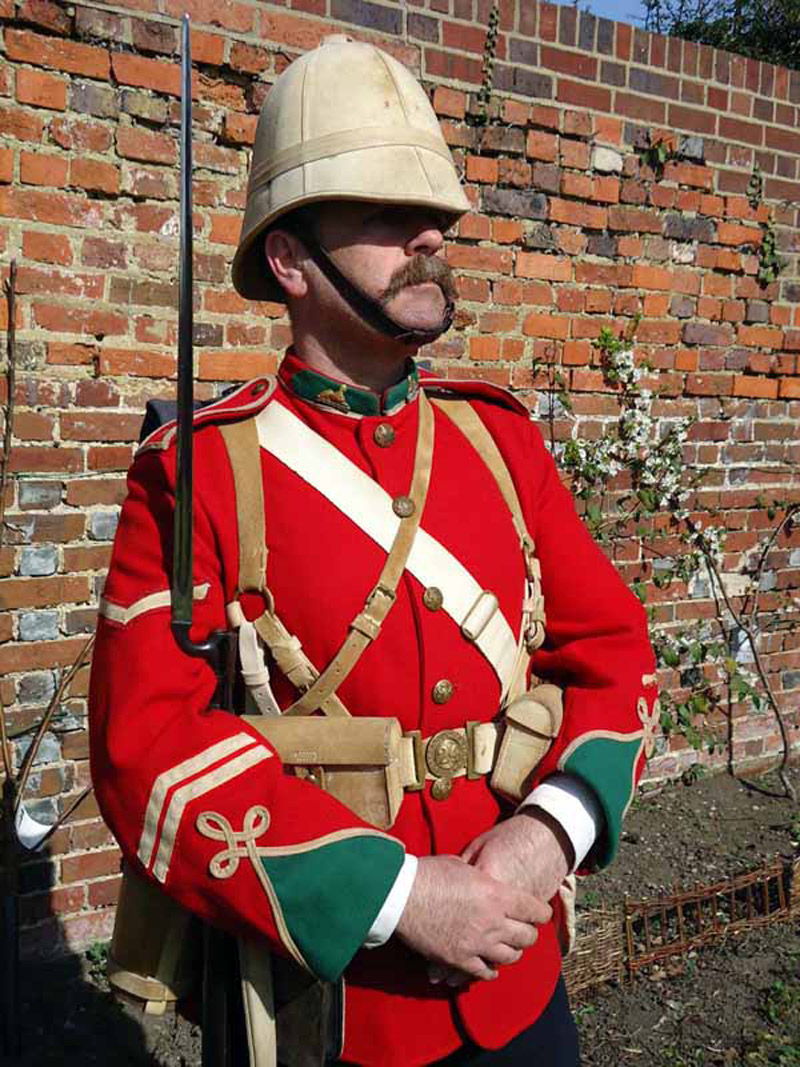 The Regimental Museum of the Royal Welsh South Wales, Corporal Church, a modern day re-enactor, dressed as Corporal of ...
