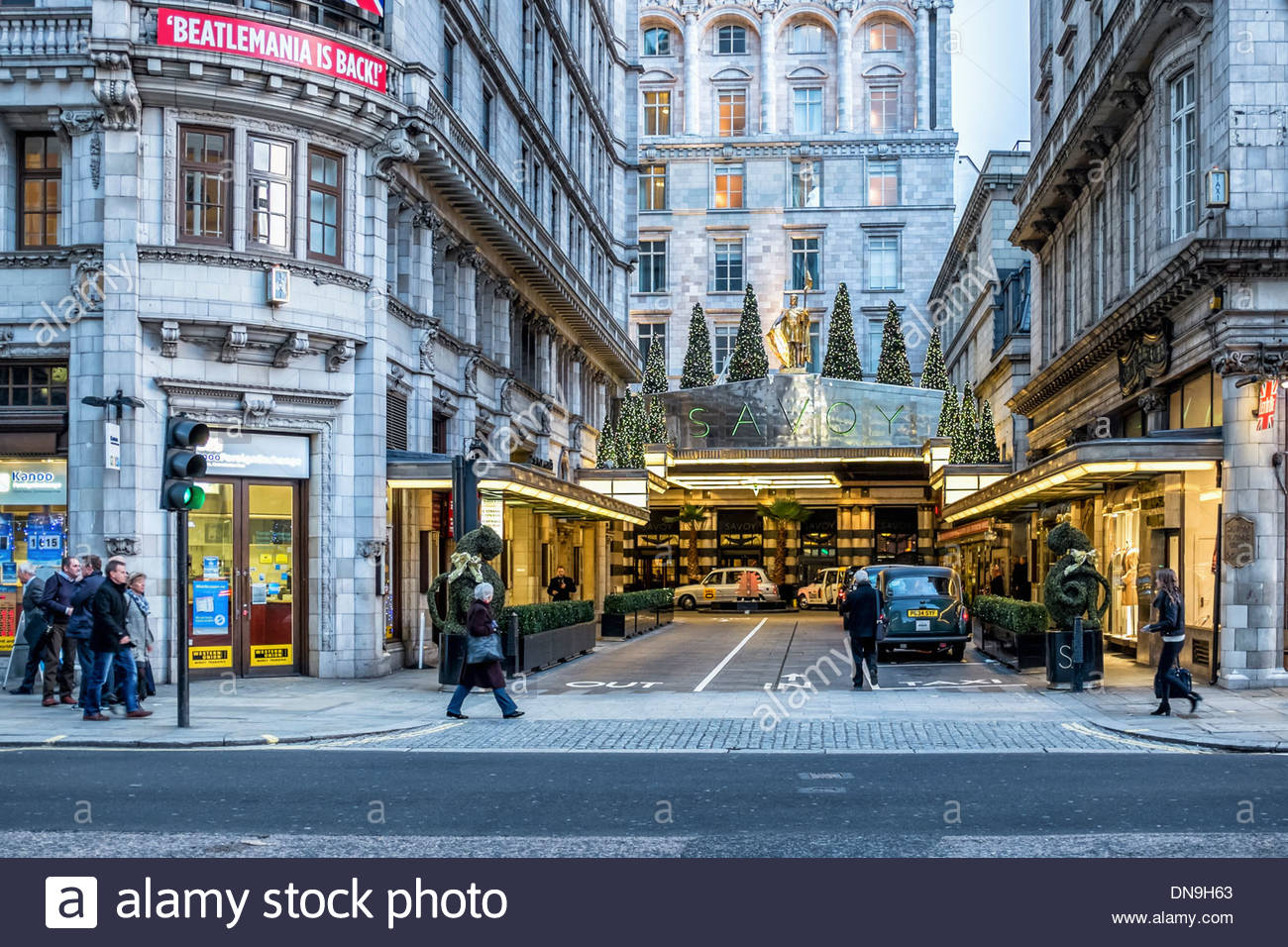 The Strand London, Entrance to the Savoy Hotel The Strand, London Stock Photo ...