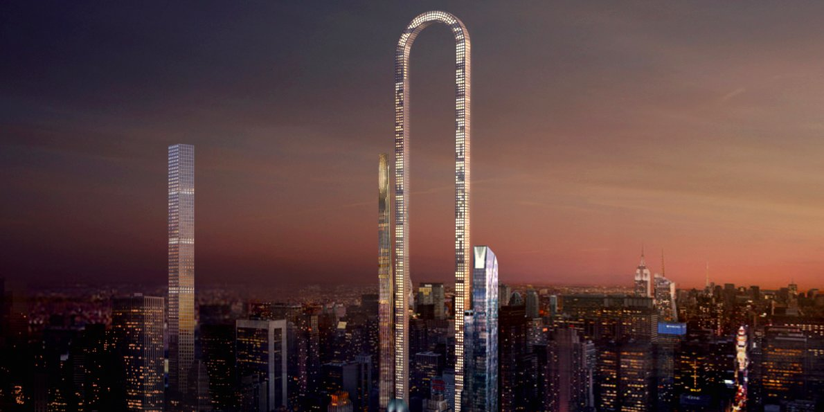Times Square New York City, A giant U-shaped skyscraper designed for New York City could be ...