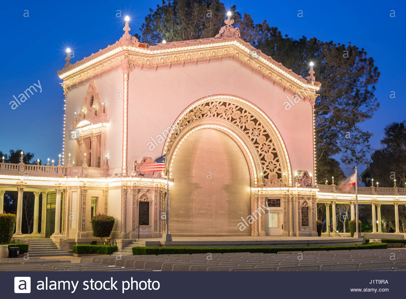 Timken House San Diego, Spreckels Organ Pavilion photographed at night. Balboa Park, San ...