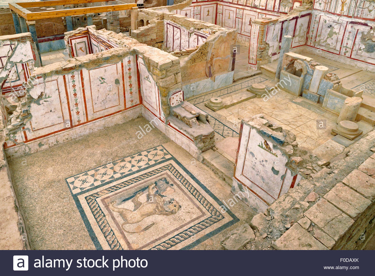 Tomb of Amyntas Fethiye, Inside the covered 'Terraced Houses' archaeological site at the ...