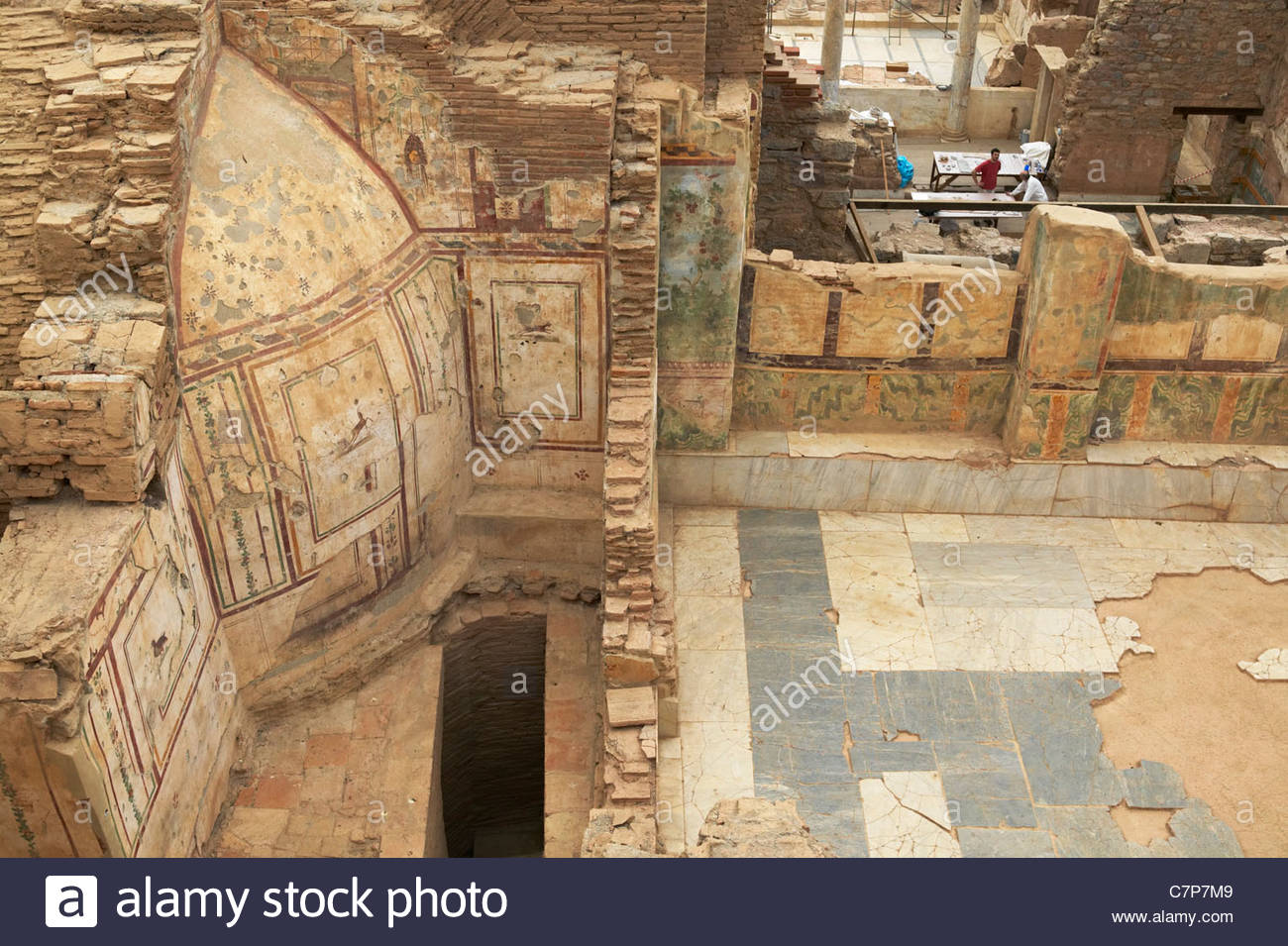 Tomb of Amyntas Fethiye, Wall paintings in Terrace house 2 getting restorated in the ...