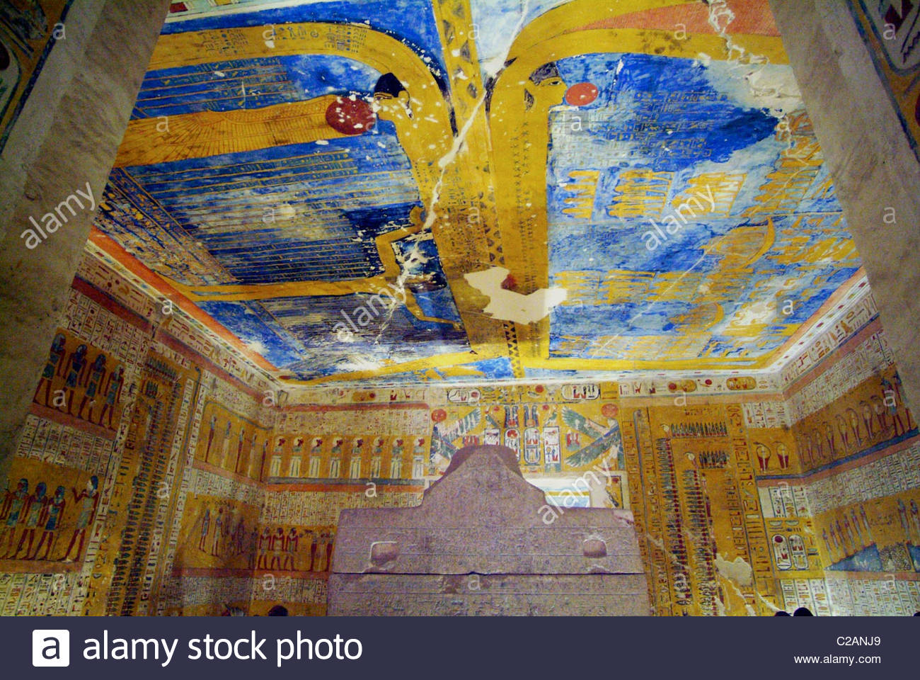 Tomb of Ramses VII (KV 1) Luxor, Painted detail inside the Tomb of Ramesses iV at Luxor Stock Photo ...