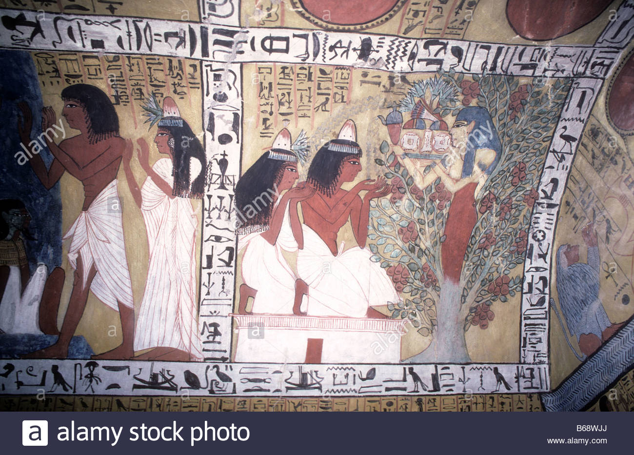 Tomb of Sennedjem Luxor, Paintings in tomb of Sennedjem in the workers village Deir el ...