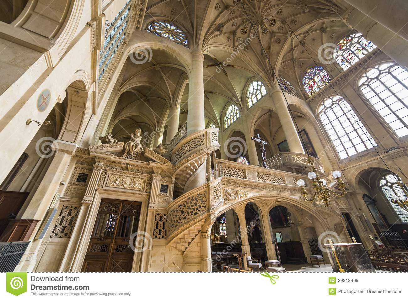 Tour Saint-Jacques Paris, Saint Etienne Du Mont Church, Paris, France Stock Image - Image ...