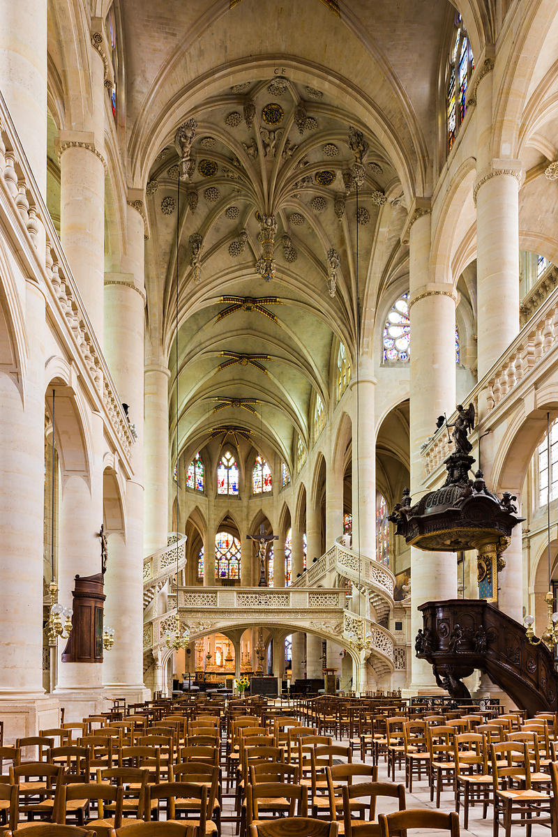 Tour Saint-Jacques Paris, Photostock Arnaud Frich Nave of Saint Etienne du Mont church, Paris
