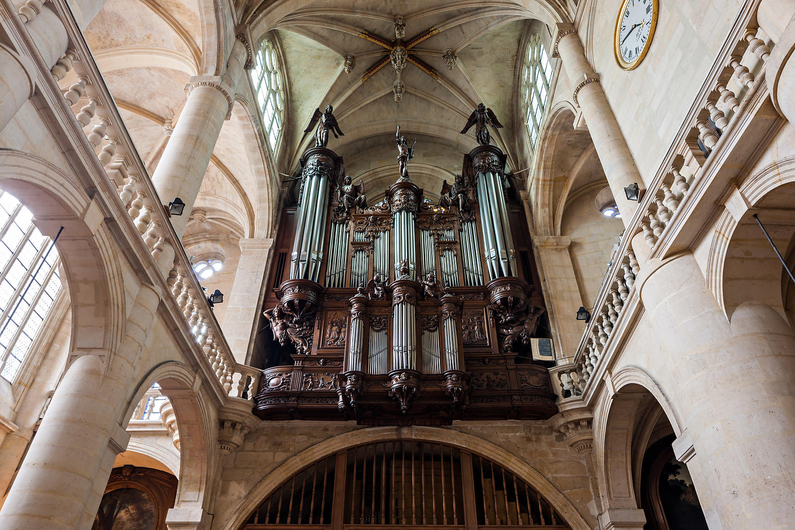 Tour Saint-Jacques Paris, Photostock Arnaud Frich Organ case of Saint Etienne du Mont church ...