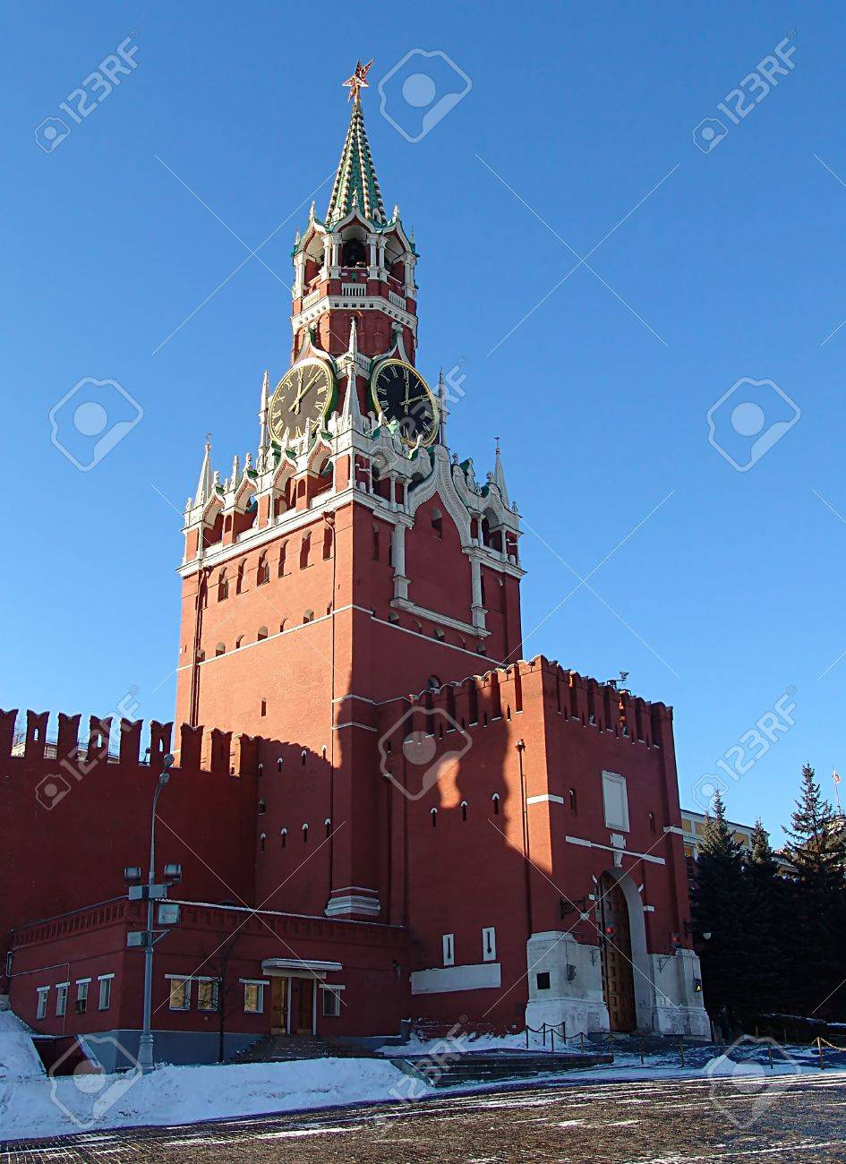 Tower of the Savior Moscow, A View Of The Spasskaya (Savior) Tower, Moscow, Russia Stock Photo ...