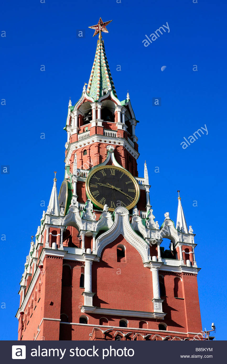 Tower of the Savior Moscow, The Savior Tower or Spasskaya Tower (1491) at the Kremlin in ...
