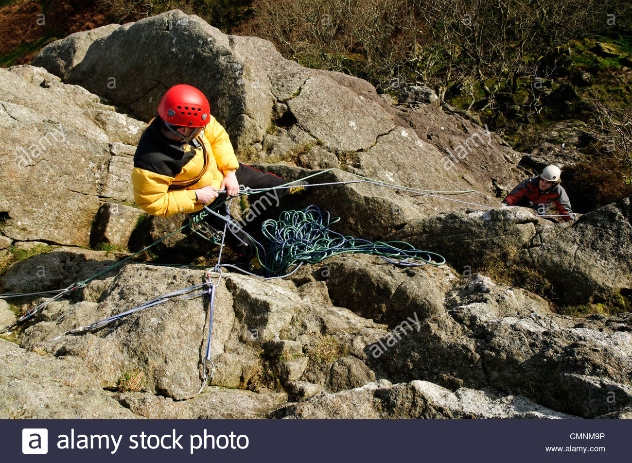 Tremadog North Wales, A rock climber belaying at the Upper Tier of Tremadog North Wales ...