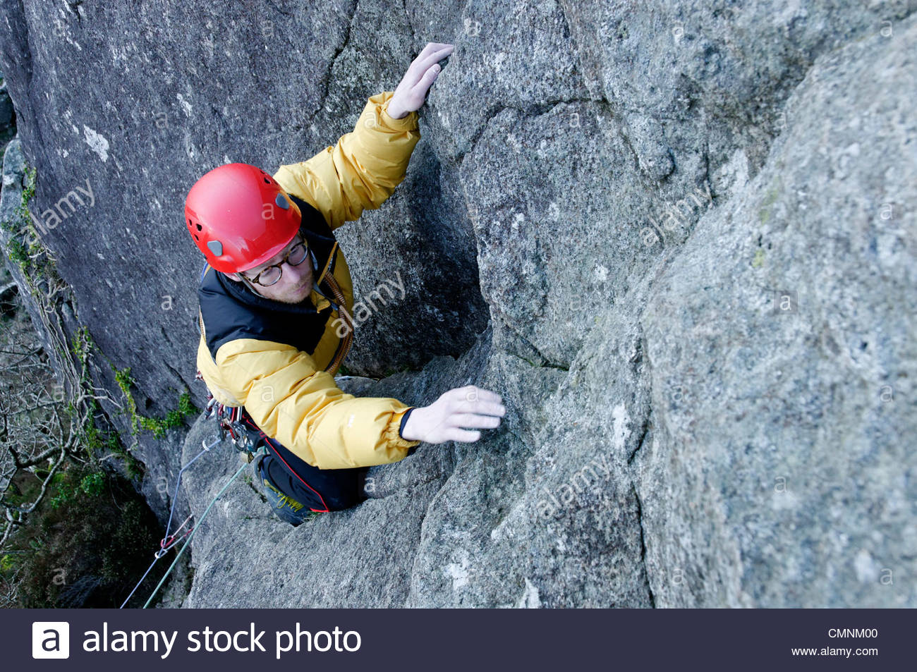 Tremadog North Wales, A rock climber leading a climb at Tremadog North Wales Stock Photo ...