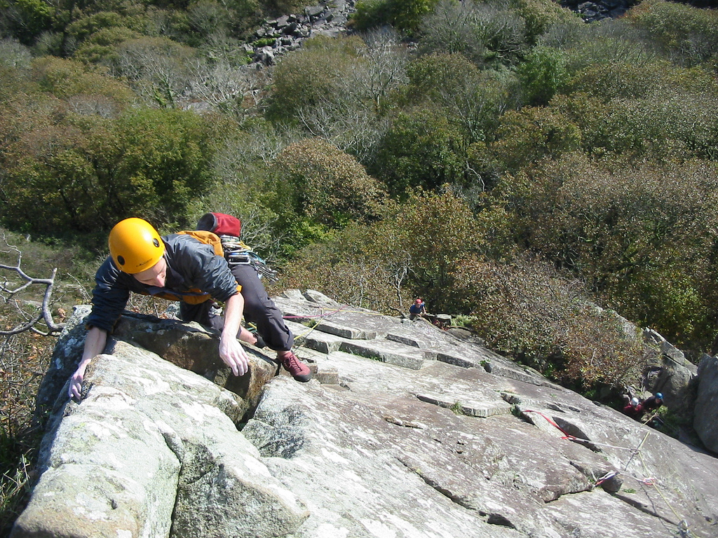 Tremadog North Wales, Tucker topping out on Scratch Arete, Tremadog, North Wales… | Flickr