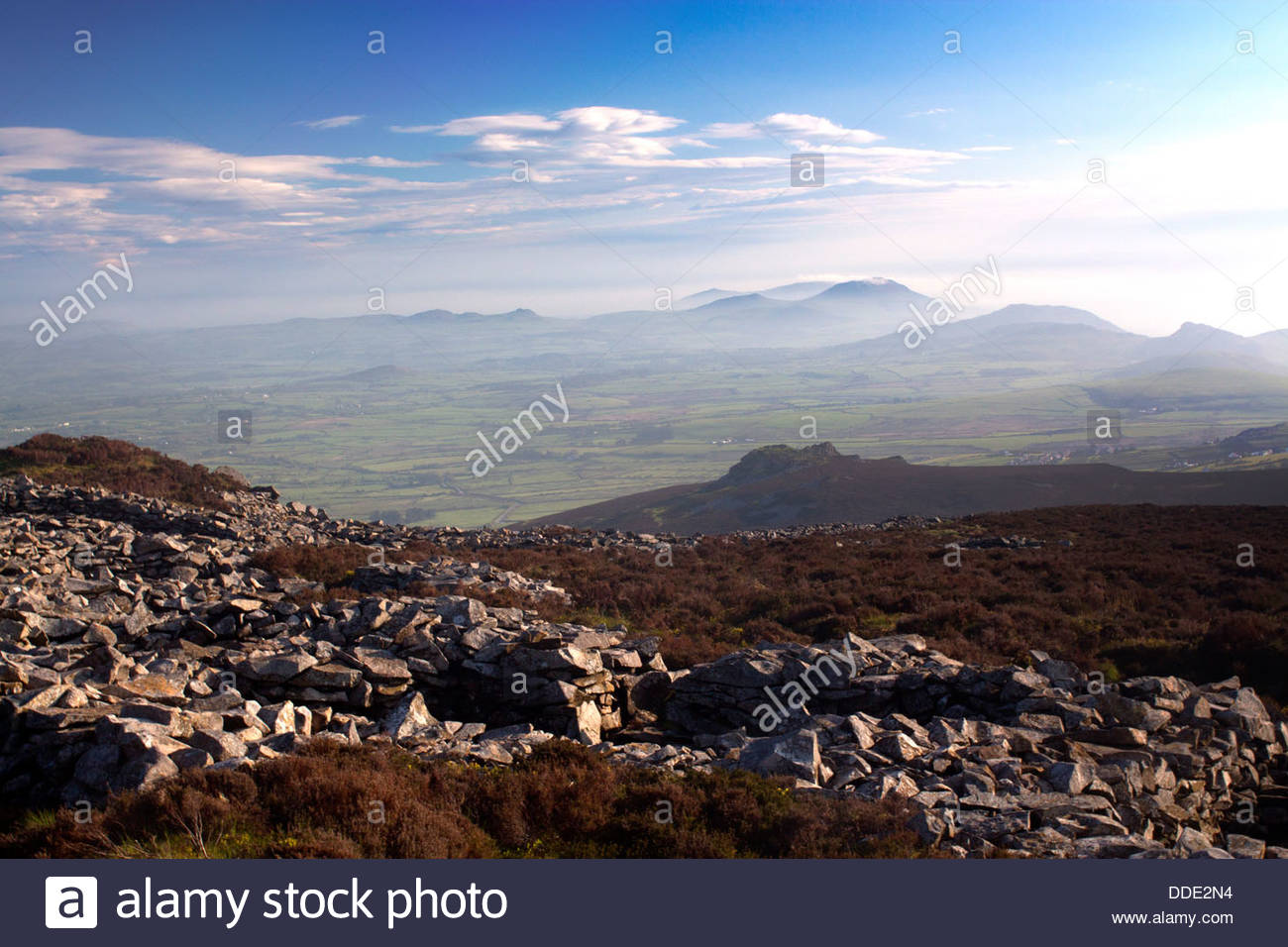 Tre'r Ceiri North Wales, Tre'r Ceiri Iron Age hillfort and village on mountain top Yr Eifl ...