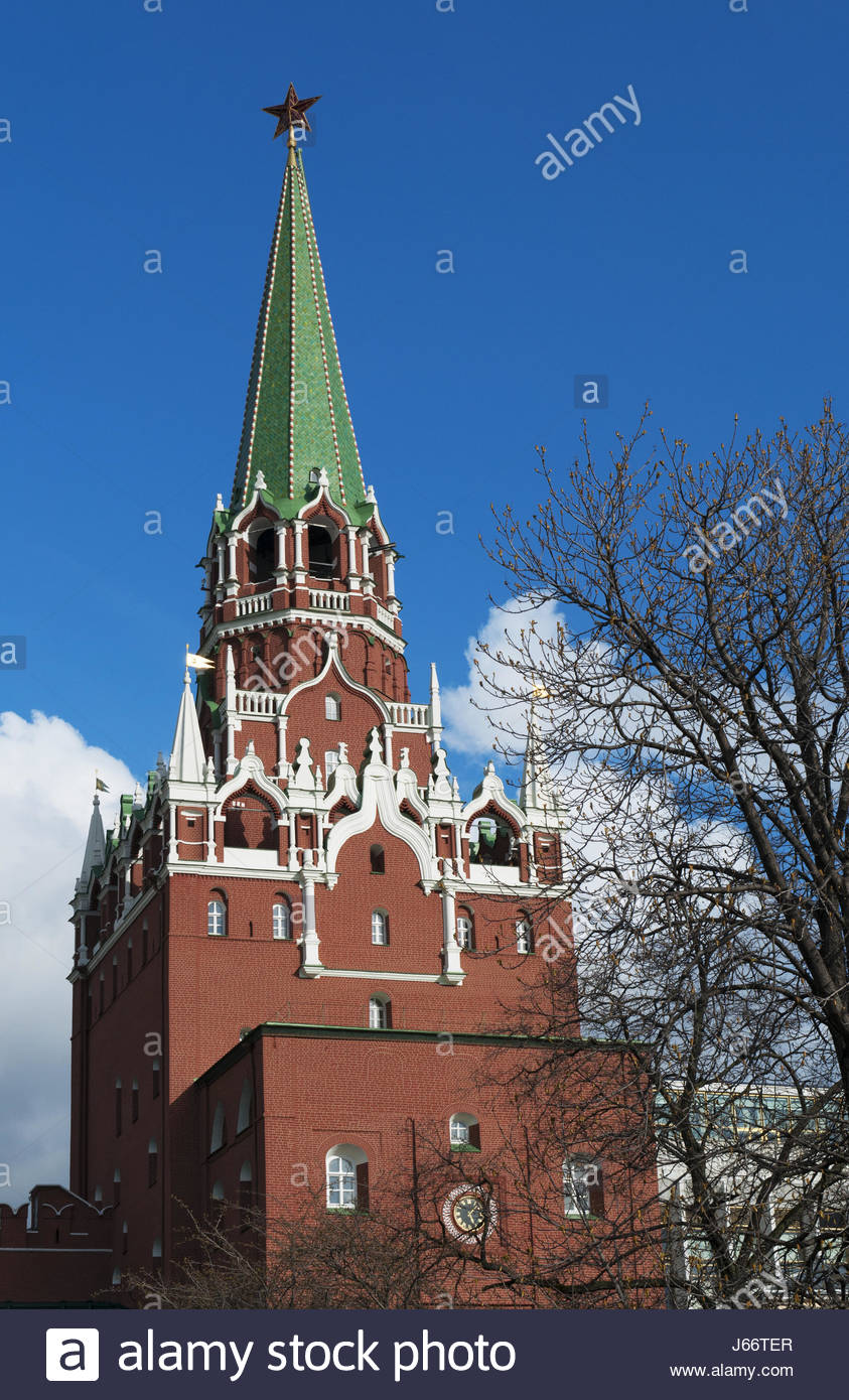 Troitskaya Tower Moscow, Moscow: view of the Troitskaya Tower (Trinity Tower), one of the ...
