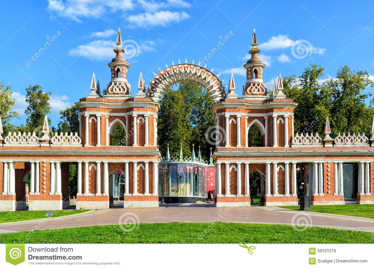Tsaritsyno Moscow, The Arch Of Palace Of Catherine The Great In Tsaritsyno, Moscow ...