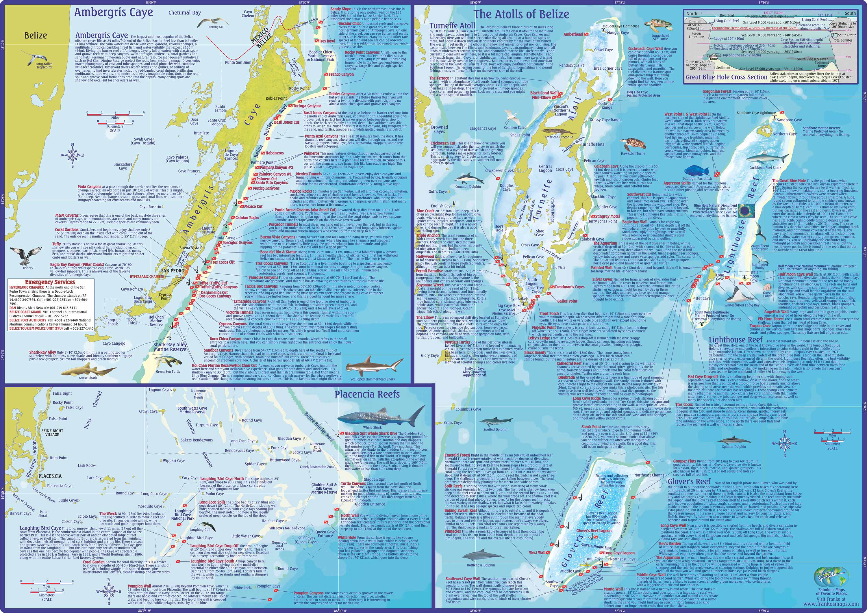 Emerald Forest Reef The Cayes and Atolls, Dive Belize, Map and Info on Dive and Snorkeling Sites off ...