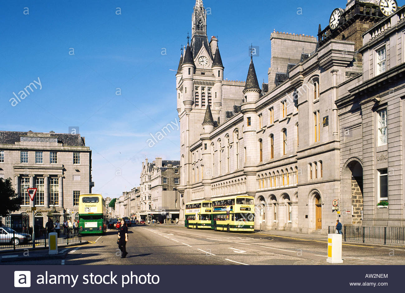 Union Street Aberdeen and the Northeast, The Town House on Union Street in Aberdeen city centre, Grampian ...