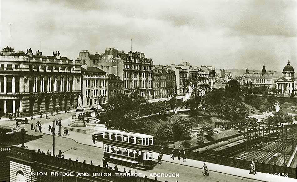 Union Terrace Aberdeen and the Northeast, Aberdeen, Union Bridge and Union Terrace late 1920's   SCOTLAND ...