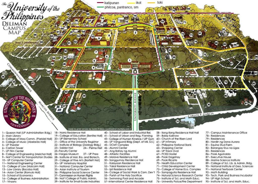 University of the Philippines Diliman Manila, UP Diliman Campus Map with Jeepney Routes | University of the ...