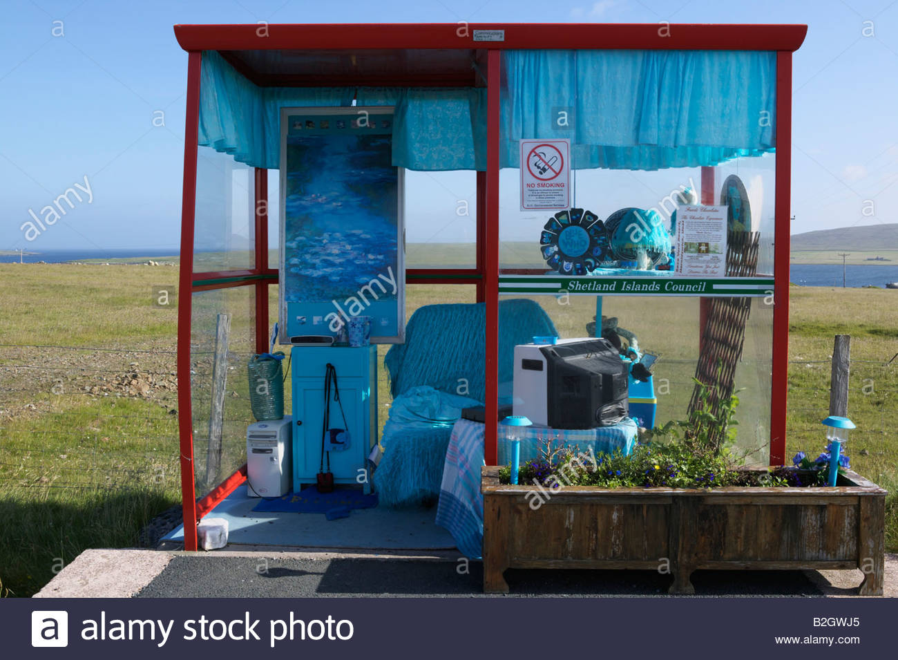 Unst Bus Shelter Unst, Blue themed and decorated bus stop near Baltasound, Unst, Shetland ...